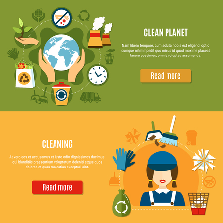 Set of two horizontal garbage banners with cleaning icons and recycling pictograms with read more buttons vector illustration