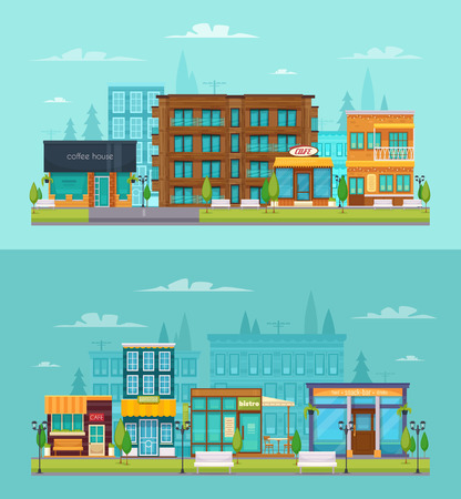 City street view 2 flat horizontal banners set with coffee house snack bar cafe isolated vector illustration