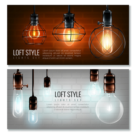 Two realistic vintage glowing light bulbs horizontal banner set with lost style headlines vector illustration