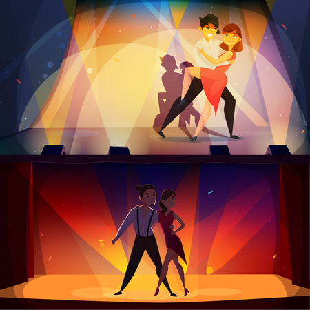 Salsa and tango onstage 2 retro cartoon banners with dancing pairs in spotlights nostalgic poster isolated vector illustration Ilustração