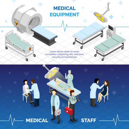 Medical equipment and medical staff horizontal banners with highly technological devices doctors and patients isometric vector illustration