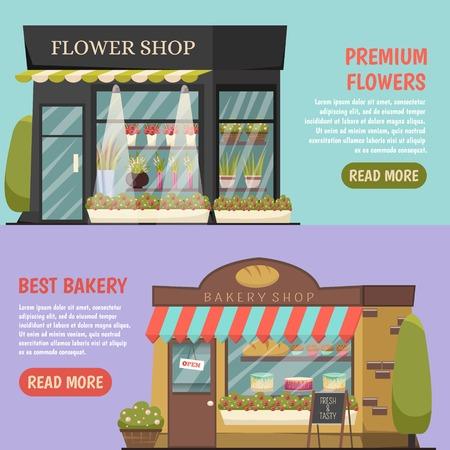 Gli acquisti orizzontali banner insieme con fiori negozio simboli illustrazione vettoriale isolato