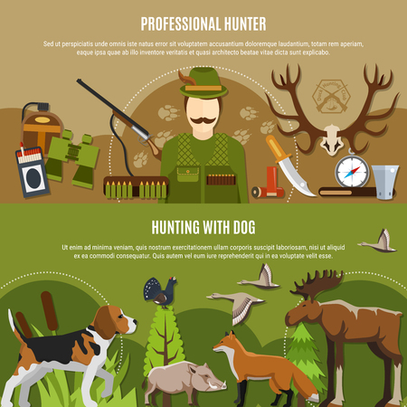 Professional hunter horizontal banners set with wild animals symbols flat isolated vector illustration Illustration