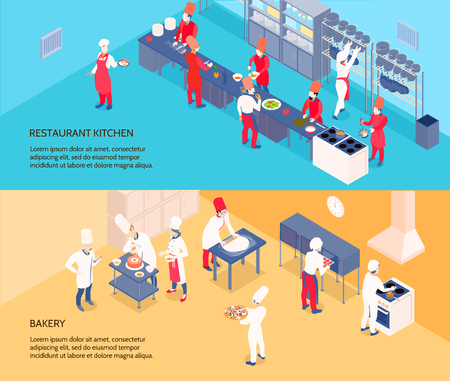 Professional cooking isometric banners with restaurant kitchen and bakery on blue and yellow backgrounds isolated vector illustration Illustration