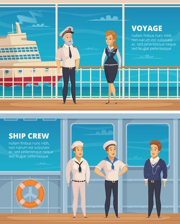 De jachtbemanningsleden van de jacht reizen karakters 2 horizontale beeldverhaalbanners met kapitein en zeelieden geïsoleerde vectorillustratie uit Stockfoto - 83426553