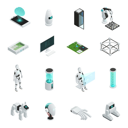 Colored and isolated artificial intelligence isometric icon set with electronics and new technologies in human life vector illustration Illustration