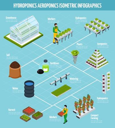 Hydroponics isometrische infographic set met kunstmest watering en landbouw symbolen vector illustratie
