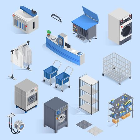 Dry cleaning and laundry service isometric set with icons of washing machine ironing board cleansers and carts for clean clothes
