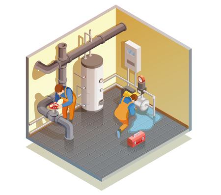 Dwóch hydraulików w pracy naprawianie wycieku kotła i sprawdzanie ilustracji wektorowych składu izometrycznego ciśnienia w instalacji grzewczej