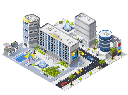 Luxury hotel buildings isometric composition with swimming pool and relaxation area vector illustration