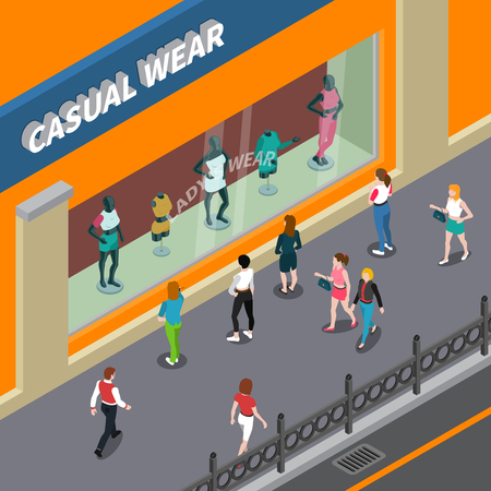 Mannequins in showcase of shop with female casual wear and people at street isometric vector illustration Illustration