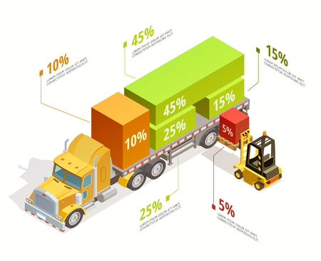 Logistic infographic isometric template with right truck loading and forklift isolated vector illustration