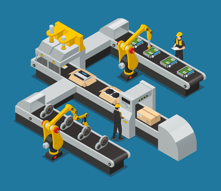 Colored car electronics autoelectronics isometric factory composition with robotized process in the factory vector illustration Illustration