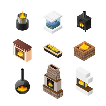 Nine isolated fireplace designs set of different colour and shape of grate chimney and mantelpiece materials vector illustration