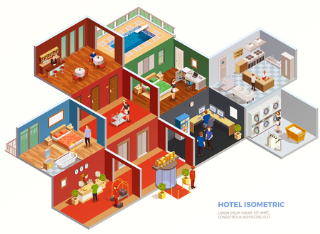Composición isométrica de habitaciones de hotel diseño interior con personal e invitados en la ilustración de vector de fondo blanco
