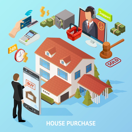 Isometric house loan composition with conceptual financial elements payment credit smartphone auction hammer and landmark images vector illustration Illustration