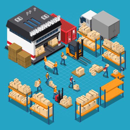 Warehouse isometrische samenstelling met werknemers en opslag gebouw planken en dozen vervoer op blauwe achtergrond vector illustratie Stock Illustratie
