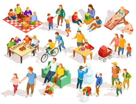 Families spending free time with their children in different places colorful isometric icons set isolated on white background vector illustration Vettoriali