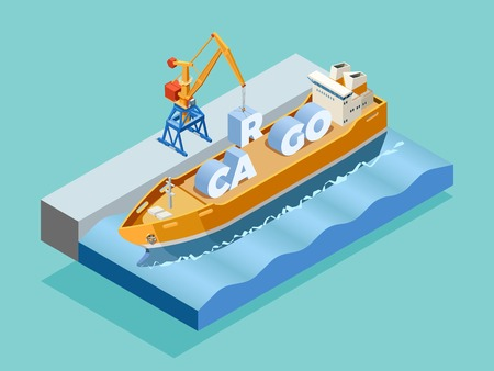 Seaport isometric template with crane loading inscription cargo on ship isolated vector illustration