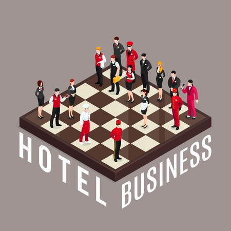 Hotel business chess composition with hotel employee characters in uniform standing like chesspieces on isometric chequerboard vector illustration