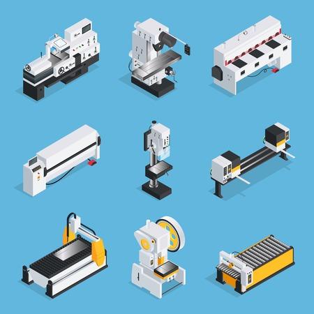 L'insieme isometrico delle macchine per la lavorazione dei metalli con le tecnologie informatiche del trasportatore del pannello di controllo su fondo blu ha isolato l'illustrazione di vettore Archivio Fotografico - 83426558
