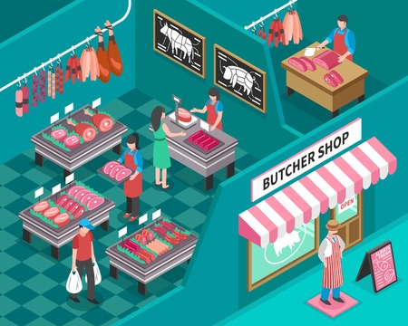 Meat shop with outside view and interior design sellers butcher and customers fresh products isometric vector illustration Illustration