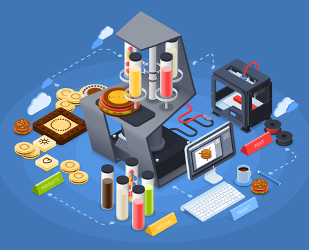Printing isometric concept with color technology and innovation symbols vector illustration
