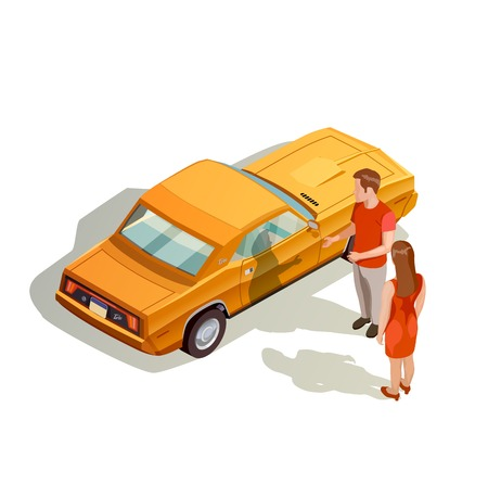 Car kit isometric images composition with male and female characters near realistic orange automobile with shadows vector illustration Illustration
