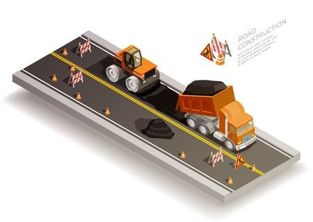 Road construction pit collapse repairs isometric composition with traffic cones signs and road machinery laying asphalt vector illustration