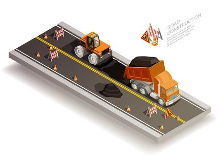 Straßenbau Grube kollabieren Reparaturen isometrische Zusammensetzung mit Verkehr Kegel Zeichen und Straßen-Maschinen Verlegung Asphalt Vektor-Illustration Vektorgrafik