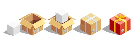 pasteboard: Delivery isometric collection of isolated square carton images pasteboard box for sending and festive gift box vector illustration
