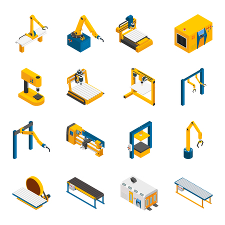 Robotic machinery isometric icons set with technology symbols isolated vector illustration