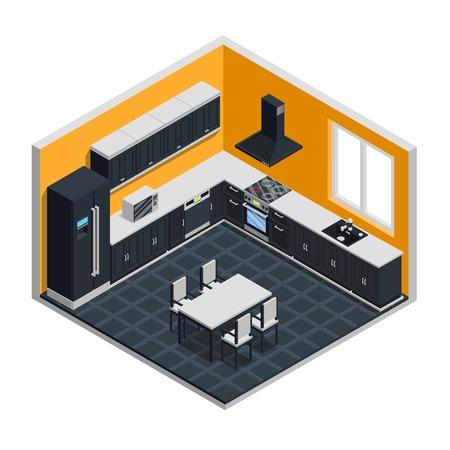 Concepto isométrico interior de cocina con cocina de microondas y mesa ilustración vectorial Foto de archivo - 83426417