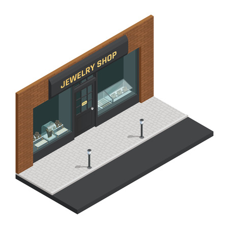 Isolated stylish colored jewelry shop isometric composition with storefront and shop sign vector illustration