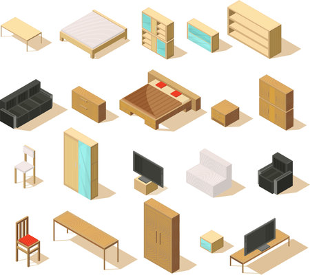 Furniture isometric set of isolated items with double beds sofas chairs armchairs bedside tables and tv vector illustration