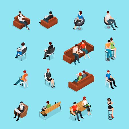 Zittend mensen isometrische reeks menselijke karakters en zetmeubilair geïsoleerde beelden met zitkamerstoelen en banken vectorillustratie Stock Illustratie