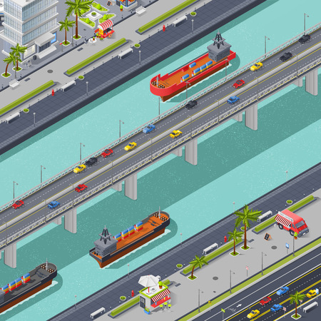Bridges in the city isometric composition with transport people and ships vector illustration
