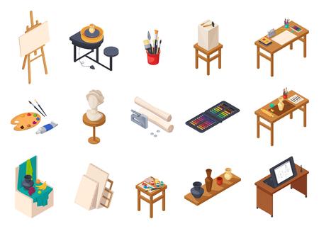 Colección de elementos de interior isométrica de estudio de arte con estantes de mesas de escritorios de equipos de pintura aislados con muestras de entrenamiento ilustración vectorial Foto de archivo - 83426424