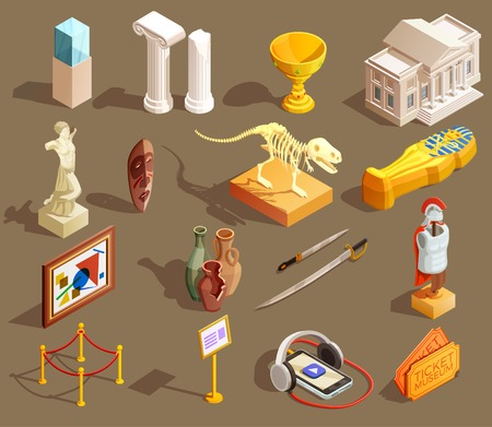 Museum icon isometric set of isolated exhibit items and essential elements for attending museum tour vector illustration Иллюстрация