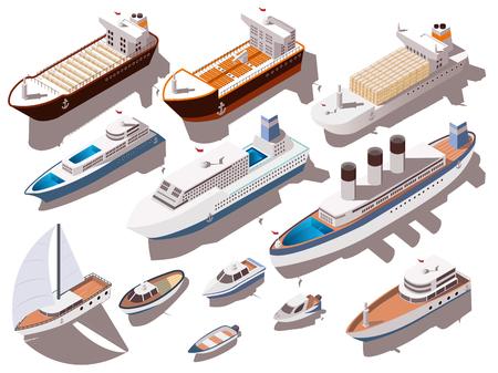 Schepen en boten van verschillende grootte kleurrijke isometrische die reeks op witte 3d vectorillustratie wordt geïsoleerd als achtergrond