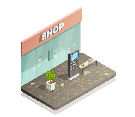 Cleaning isometric composition with dirty shop front flowerbed and bench with footprints and fingermarks with rubbish vector illustration Illustration