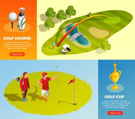 Golf isometric horizontal banners with decorative elements showing playing golfers tournament cup golf course vector illustration