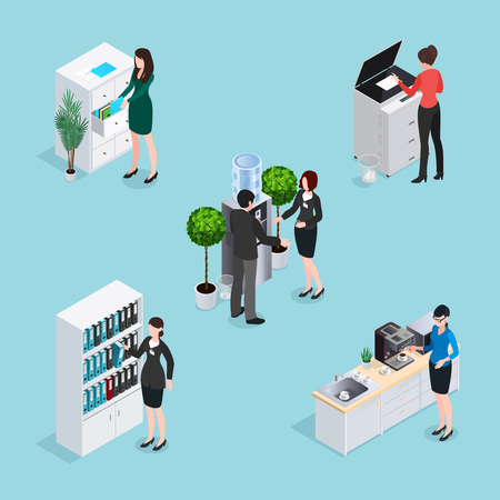 Office life scenes isometric set with employees near water cooler cabinets copier at kitchen isolated vector illustration Illustration
