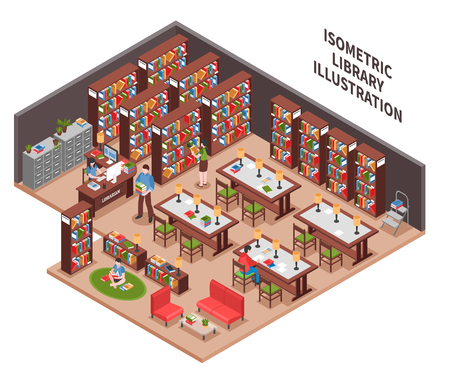 Library with woman employee at workplace with computer bookcases filing cabinet visitors reading area isometric vector illustration Vettoriali
