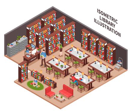 Bibliotheek met vrouwenwerknemer op het werk met computerboekenkasten die kabinetsbezoekers lezen die gebieds isometrische vectorillustratie lezen Stock Illustratie