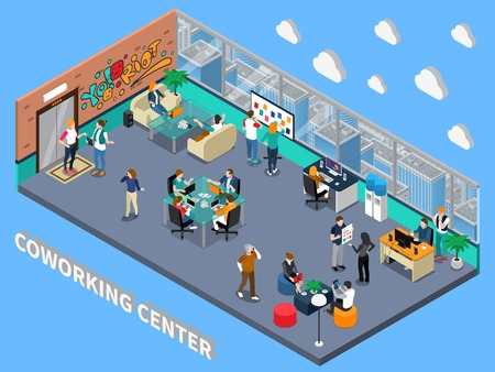 Coworking center isometric interior with people, sofas for meeting, rest zone, workplaces, cityscape from window vector illustration.