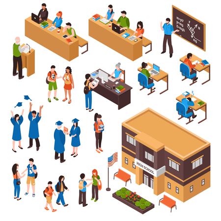 Isometric set of students and teachers in high school and university on white background isolated vector illustration.