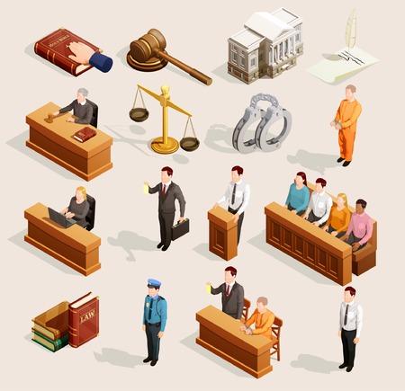 Prawo ikony isometric set odosobneni jawni sprawiedliwość symbole balansuje młoteczek wristbands osądza i przysięgłych charakterów wektoru ilustrację.