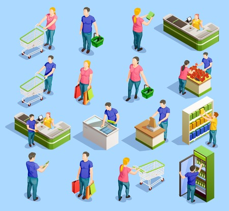 Isometric people shopping set of isolated human characters with trolley carts cabinet shelves and checkout stand vector illustration. Иллюстрация