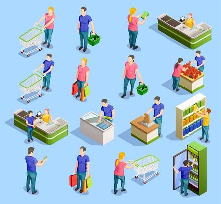 Les gens isométriques achètent des personnages humains isolés avec des étagères de meubles de chariots de chariot et une illustration vectorielle de stand de caisse. Vecteurs